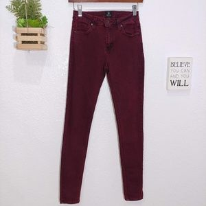 Just Black Maroon skinny ankle jeans size 26